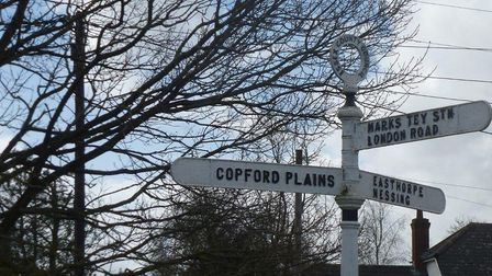 """The """"plains"""" is the arable area west of Copford Green; the highest point marked as only 40m above se"""