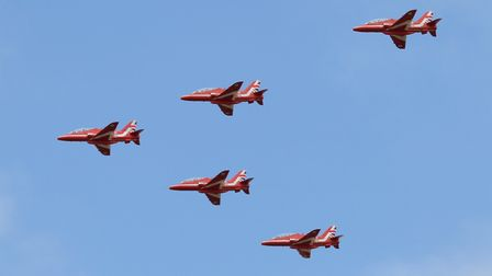 The distinctive red Hawks of the RAF Aerobatic Team, The Red Arrows. Picture: GARY STEDMAN