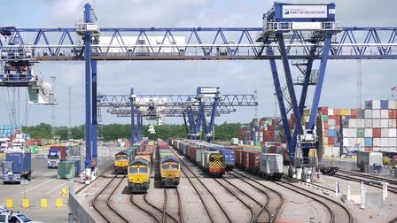 Freight traffic to and from the Port of Felixstowe Picture: HUTCHISON PORTS UK