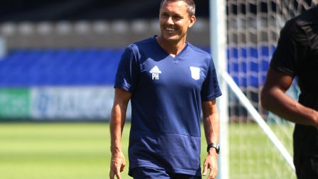 Ipswich Town manager Paul Hurst smiles as the Ipswich Town Open Day Training Session starts Picture: