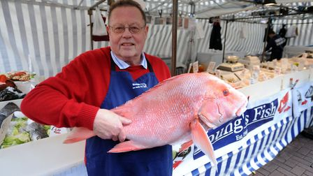 Mike Young of Youngs Fish Stall in Ipswich, now situated opposite the Town Hall. Picture: PHIL MOREL