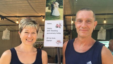 Darren and Helen McQueen at their stall which Darren decorated for their 20th wedding anniversary Pi
