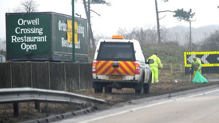 Council workers picking up litter on the A12/A14. Picture: ARCHANT LIBRARY