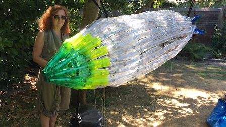 Heidi McEvoy Swift with the Zeppelin for the World War 1 Trail in Bury St Edmunds. Picture: RUSSELL