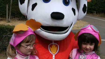 Marshall from Paw Patrol with Florence and Charolotte as 'Skye' Picture: LIZ DITTON