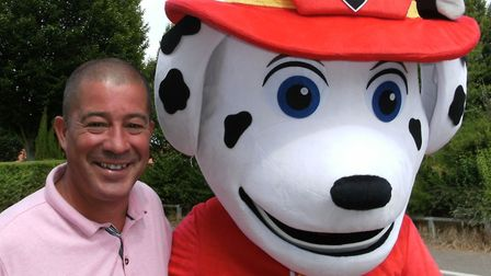 Councillor Stuart Lawson meets Marshall from Paw Patrol Picture: LIZ DITTON
