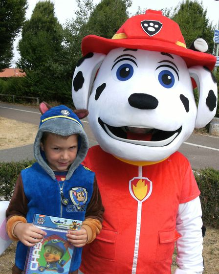 Ewan, as Chase form Paw Patrol, meets Marshall Picture: LIZ DITTON