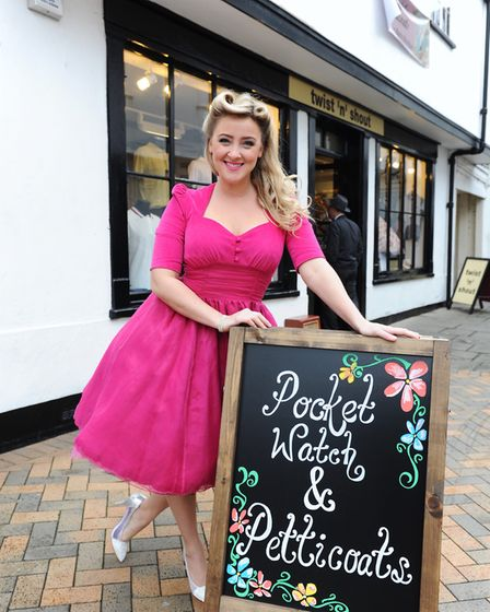 Sophia Norris at her reproduction vintage and retro clothing boutique, Pocket Watch and Petticoats,