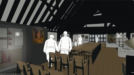 An impression of what the council chambers in the first floor of the Moot Hall would look like under
