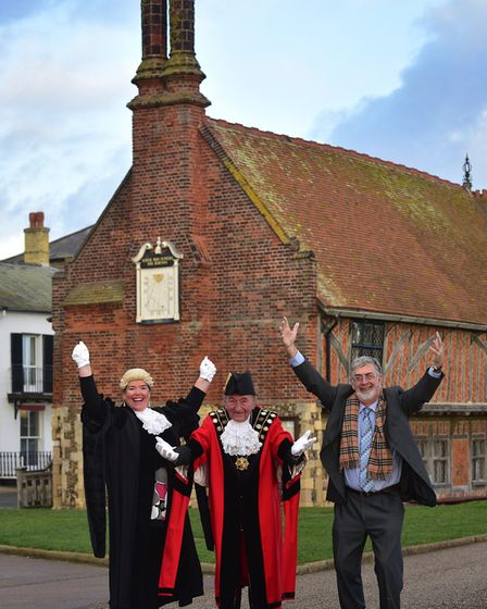 Celebrations after stage one of the application was approved, L-R, town clerk Ruth Proctor, Aldeburg