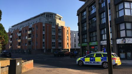 Police on the scene of a disturbance outside St Francis Court in Ipswich Picture: ARCHANT