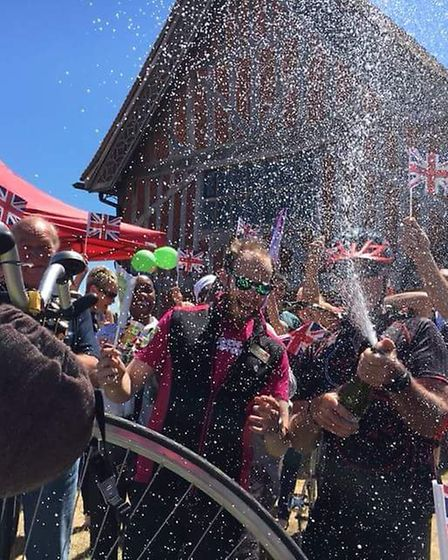 The cyclists received a warm welcome in Aldeburgh Picture: PETER BERRY