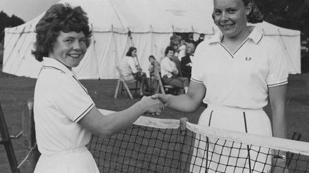 Joan Hassell, left, with Yvonne Durham (nee Grimwade) after Joan won the Suffolk Ladies Singles at