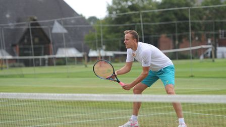 Jez Cowley in action at the Framlingham Tennis Tournament in 2017. Picture: SARAH LUCY BROWN