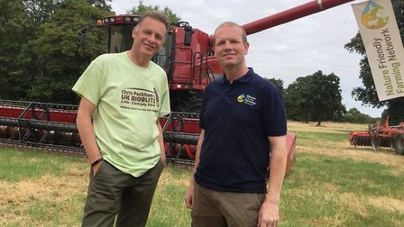 (From left) Chris Packham and Martin Lines at Papley Grove Farm PICS: Ross Bentley
