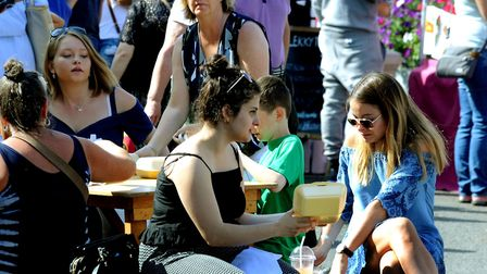 Visitors sample some of the tasty treats at last year's Bury St Edmunds Food and Drink Festival Pict