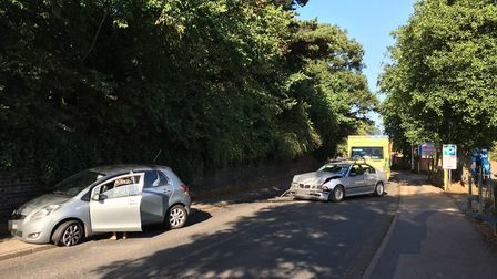 A two car collision on Handford Road, Ipswich. Picture: JAKE FOXFORD