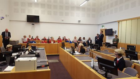 A previous mock trial held at Ipswich Crown Court in 2017. Picture: MATT STOTT