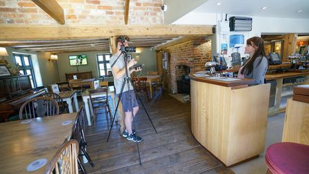 Film crews interview the Oyster Inn's General Manager Jo Cullum Picture: TONY PICK/THE PRINCE'S COUN