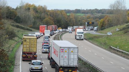 Heavy traffic on A14 after incidents at Copdock interchange