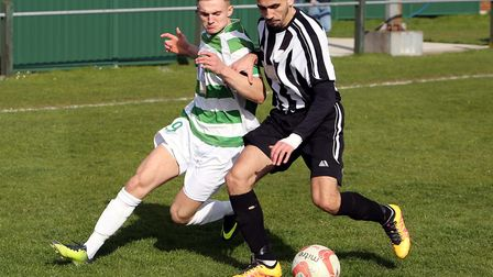Marco Makris, right, who scored Hadleigh United's fourth goal in a 5-1 home win over FC Clacton. Pic