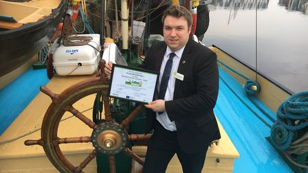 Chris Matthews, manager of the East of England Co-op's Woodbridge store, which has received a Gold c