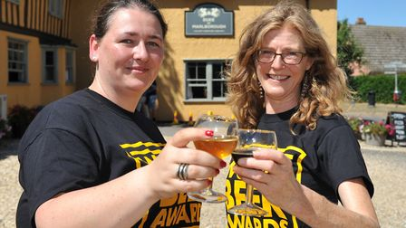Anita Ujszaszi and Frances Brace at the judging of the World Beer Awards took place at community pub