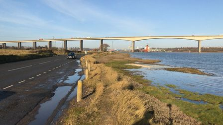 The Strand (B1456), under the Orwell Bridge in Ipswich Picture ARCHANT
