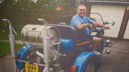 David Warnes showing off his home-made trike. Picture: YVONNE GRIMES