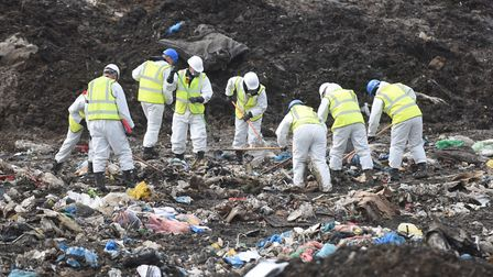 Specialist officers searched the Milton landfill site in Cambridgeshire Pictures: GREGG BROWN