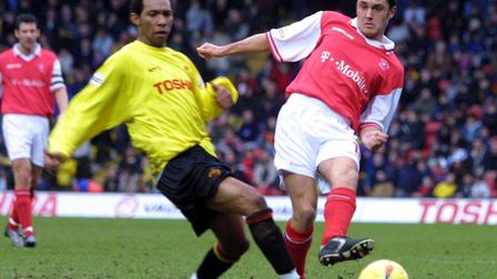 Paul Hurst (right) in action against Watford's Jermaine Pennant. He made more than 450 appearances f