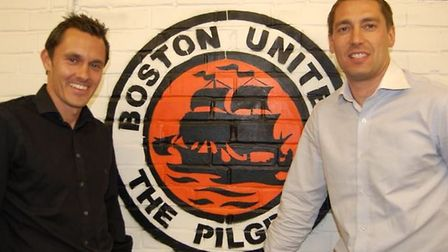 Paul Hurst and Rob Scott were appointed joint managers of Boston United in 2009. Picture: Boston Uni