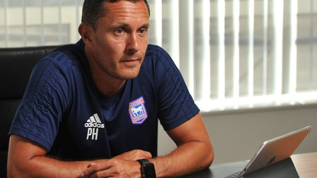Paul Hurst, pictured in the manager's office at Playford Road. Photo: Sarah Lucy Brown