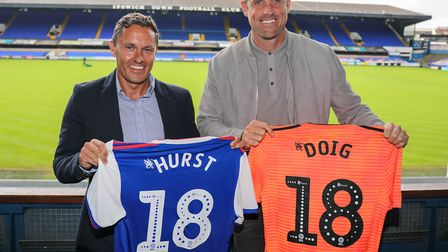 Assistant Chris Doig (right) followed Paul Hurst to Ipswich from Shrewsbury Town. Photo: Steve Walle