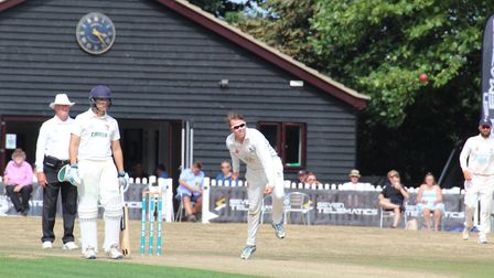 Jack Beaumont bowling for Suffolk against Norfolk in the Unicorns Championship at Copdock. Picture: