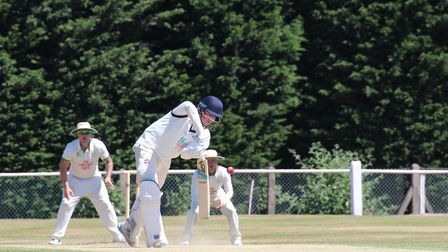 Jack Beaumont opening the batting for Suffolk in their Unicorns Championship match against Staffords
