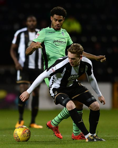 Mikael Mandron, in action during the U's away clash at Notts County last season. Here he battle with