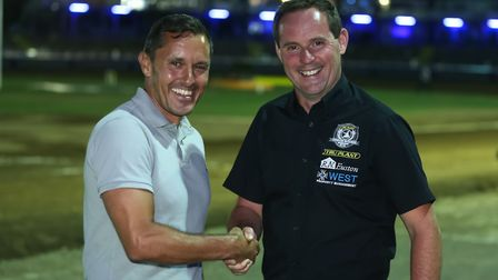 New Ipswich Town manager Paul Hurst, left, and Witches promoter Chris Louis pictured at the Ipswich