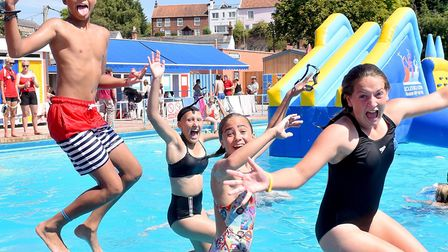 Beccles Lido has been extremely popular during the current hot weather. Picture: Nick Butcher