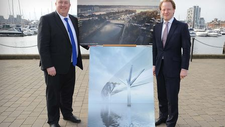 Former county council leader Colin Noble and ex-MP Ben Gummer at the unveiling of the Upper Orwell C