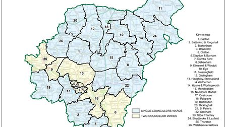 Final ward boundary recommendations for Mid Suffolk Picture: Ordnance Survey data (c) Crown copyrigh