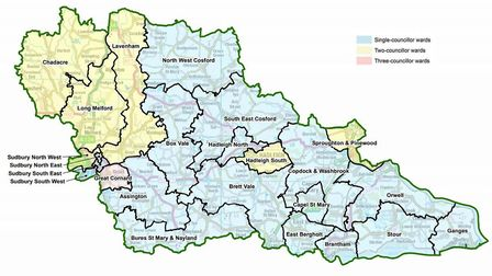 The proposed ward boundaries for Babergh District Council Picture:Ordnance Survey data (c) Crown cop
