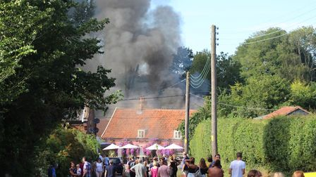 The fire at The Fox Inn at Newbourne Picture: MALCOLM SAUNDERS