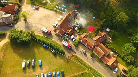 A drone photograph of the fire at the Fox Inn in Newbourne Picture: IAN POPE