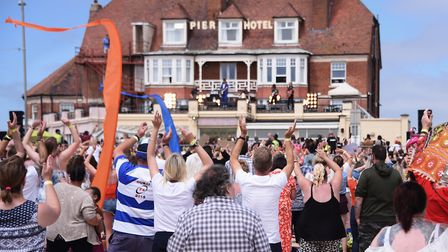 The 6000 extras on Gorleston beach enjoying the music during filming by Danny Boyle Picture: DENISE