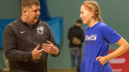 The master and the student - Ipswich coach Nick Drane and the inspirational Esther Little. Picture: