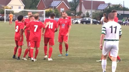 Stowmarket Town players celebrate after Luke Read's goal puts them ahead at Stowmarket. Picture: CAR