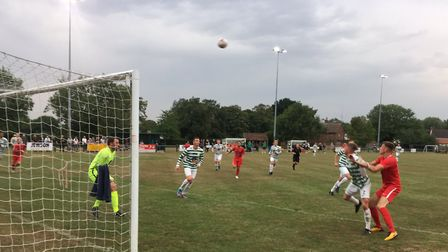 Goalmouth action as Framlingham Town defend their lines against Stowmarket. Picture: CARL MARSTON