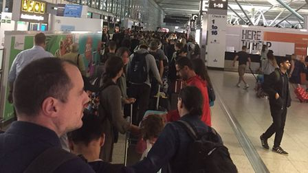 The queue at Stansted Airport today. Picture: MARTYN CHAMBERS