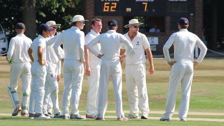 Suffolk players celebrate a wicket during their innings victory over Hertfordshire at North Mymms CC